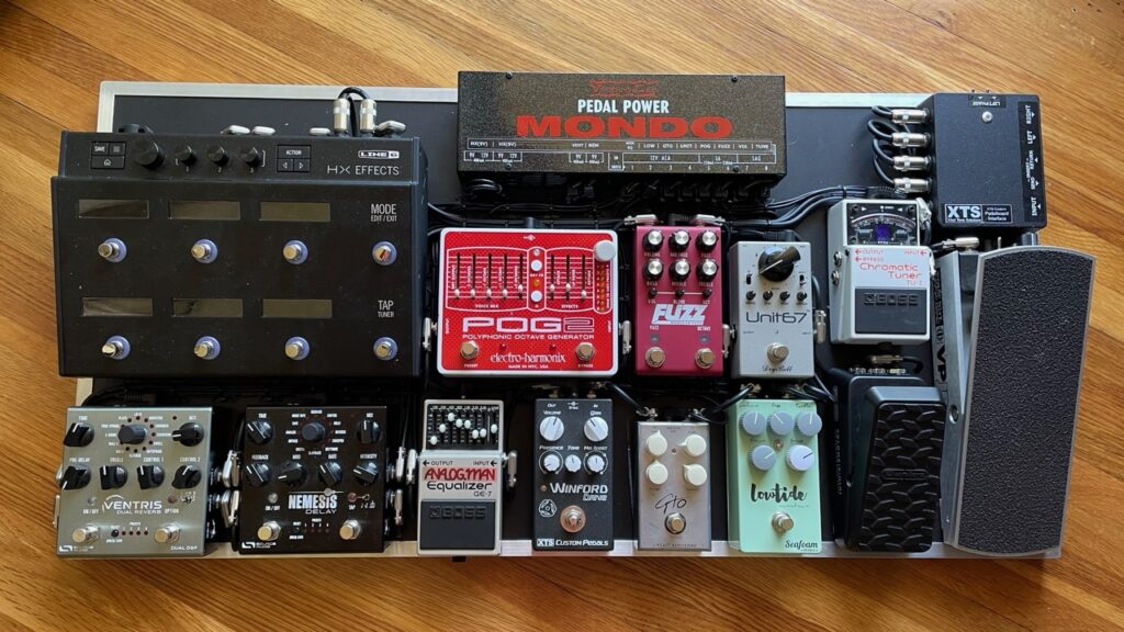 Andrew Timothy's session pedalboard built by XAct Tone Solutions